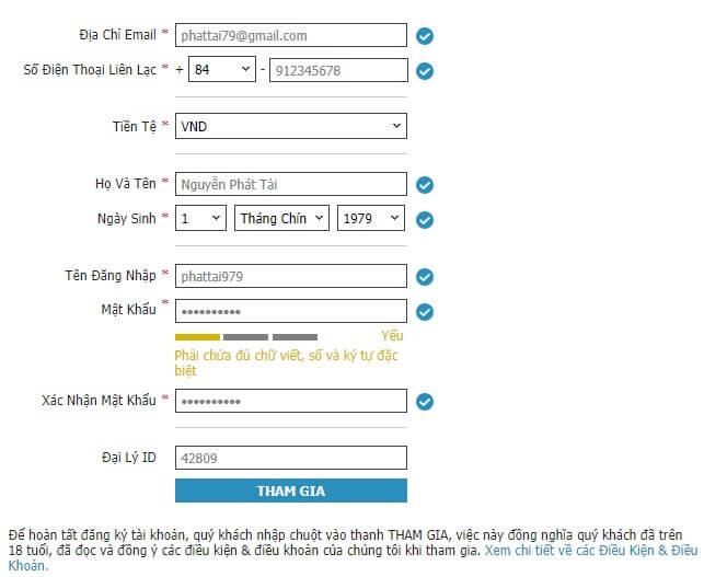 Trang đăng ký tài khoản w88