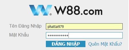 Khung đăng nhập w88
