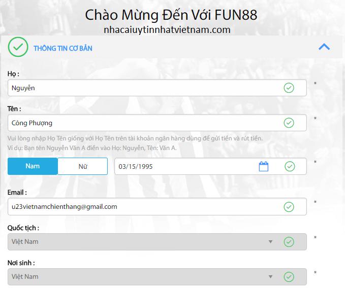 Hướng dẫn đăng ký tài khoản fun88bet